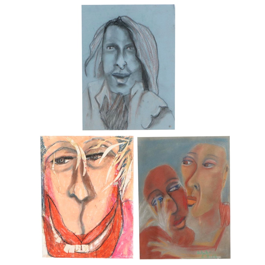 Janice Schuler Abstract Portrait Pastel Drawings, 2012