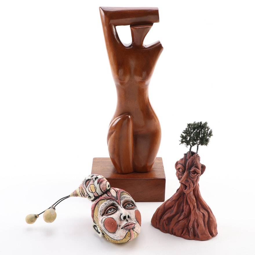 Ceramic and Wood Abstract Figural Sculptures