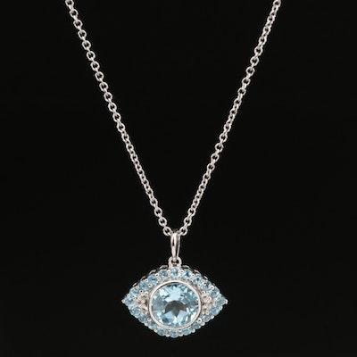 SeidenGang Sterling Silver Topaz Pendant Necklace