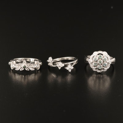 Sterling Chrysoberyl, Diamond and Gemstone Rings