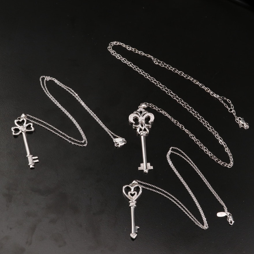 Sterling Silver Diamond Key Necklaces