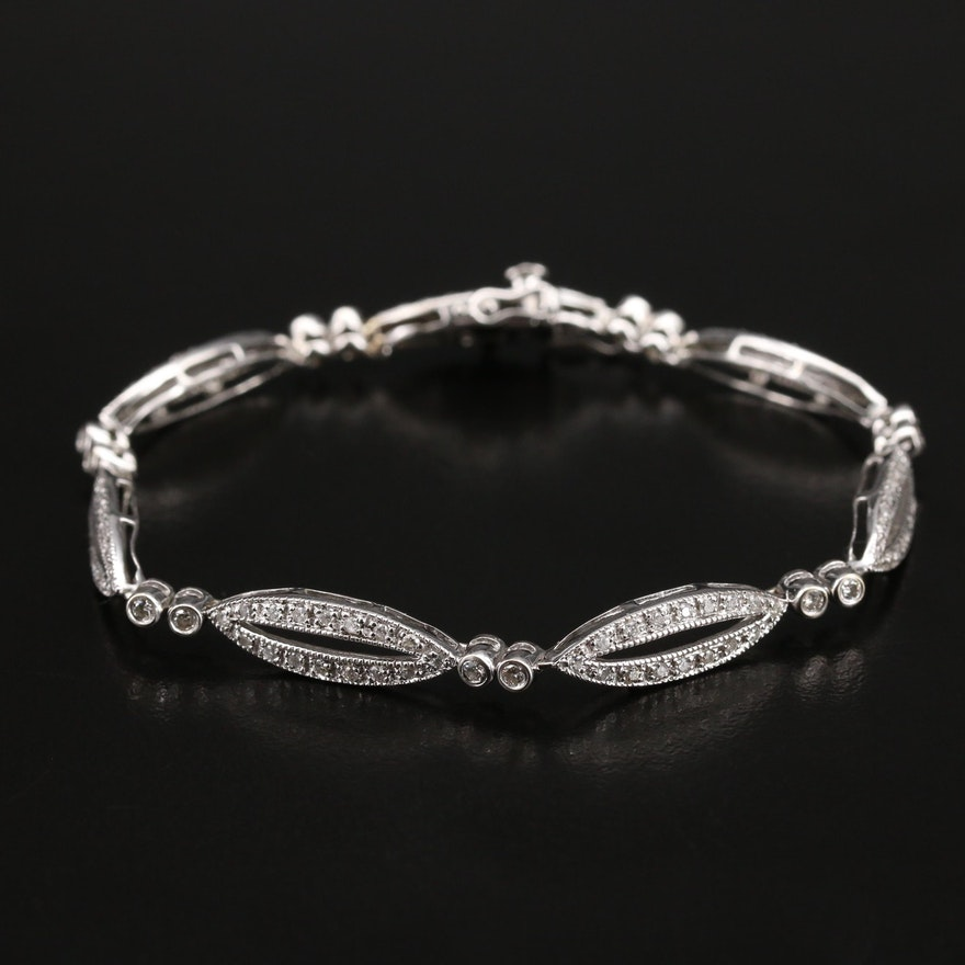 14K Diamond Oval Link Bracelet