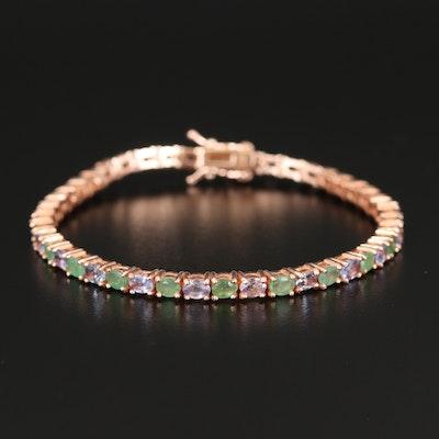 Sterling Emerald and Tanzanite Line Bracelet