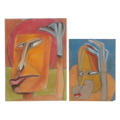 Janice Schuler Abstract Pastel Portrait Drawings, 2012