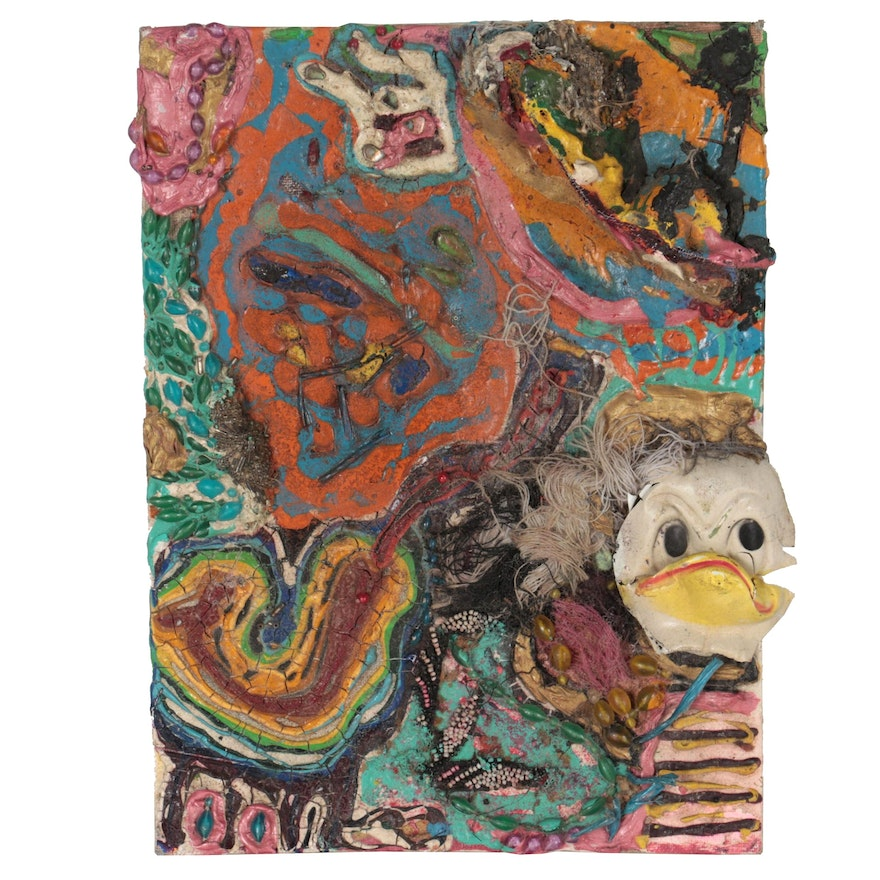 """Janice Schuler Abstract Mixed Media Painting """"Ducks R 4 ♀,"""" 1990"""