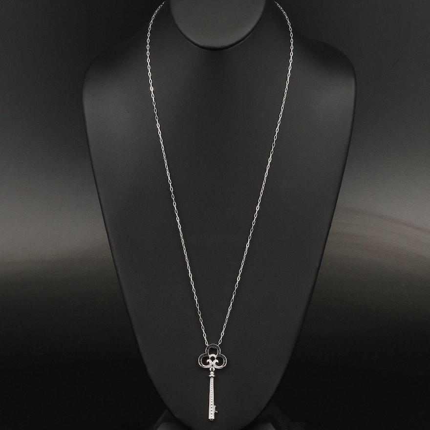 Sterling Silver Diamond Skeleton Key Necklace