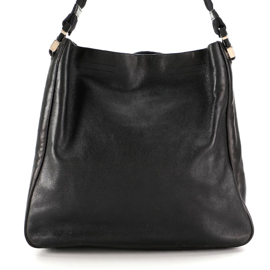 Prada Shoulder Bag in Black Grained Leather