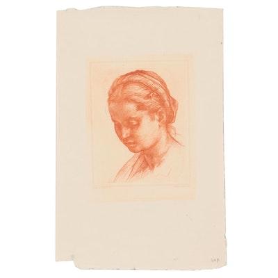 Portrait Engraving after Andrea Del Sarto of Lucrezia del Fede