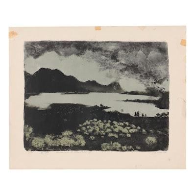 "Adolf Dehn Landscape Lithograph ""The Lake"""