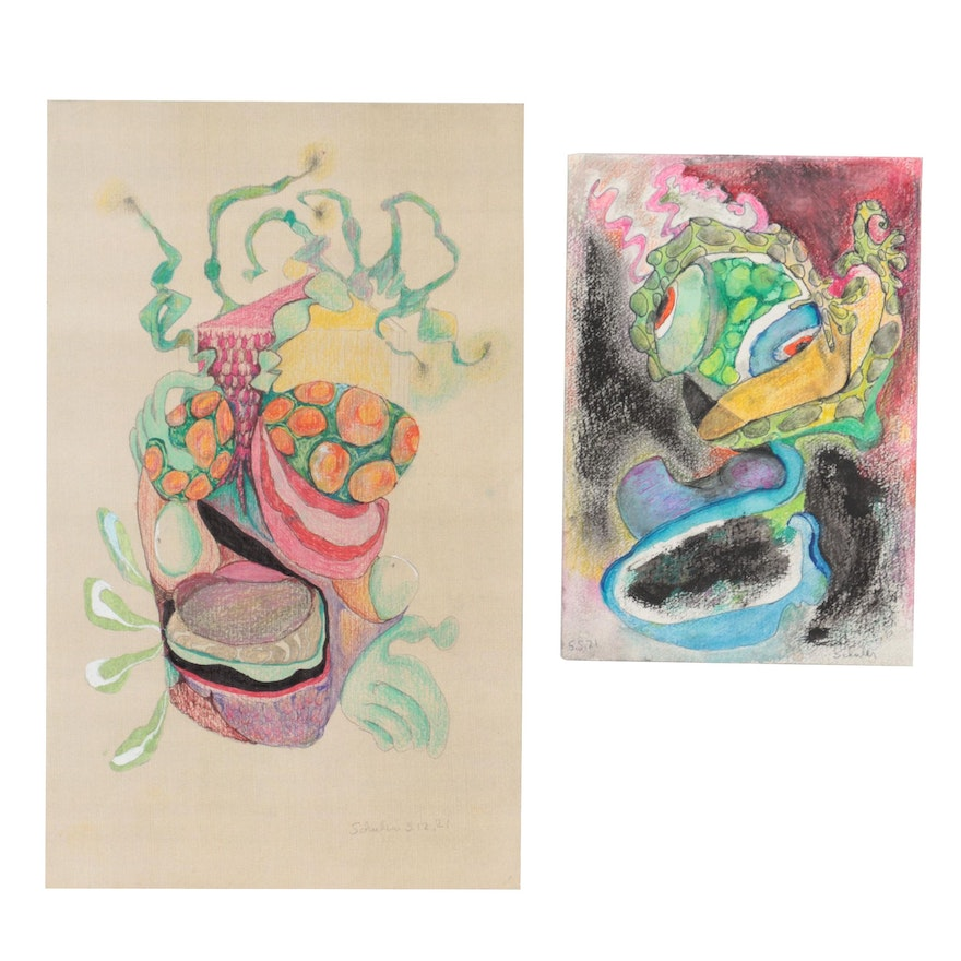 Janice Schuler Abstract Mixed Media Drawings, 2021