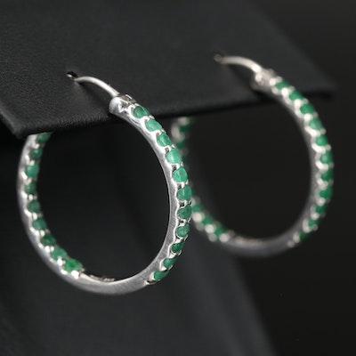 Sterling Silver Emerald Inside-Out Hoop Earrings