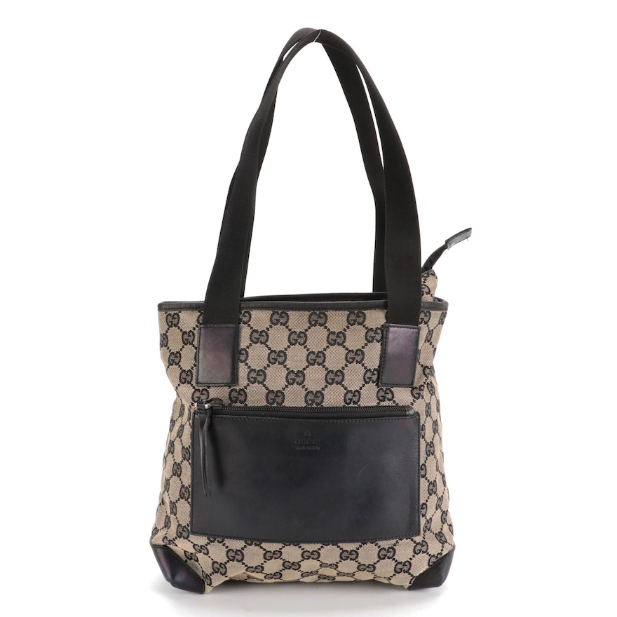 Gucci Tote Bag in GG Canvas and Black Leather