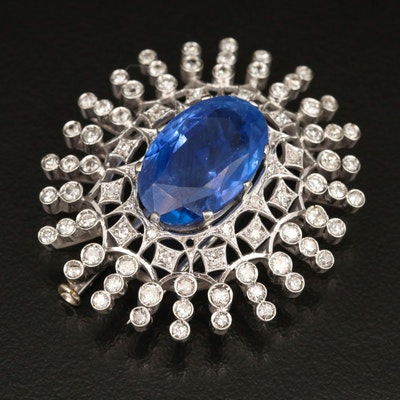 18K 14.88 CT Unheated Sapphire and 1.41 CTW Diamond Brooch with GIA eReport