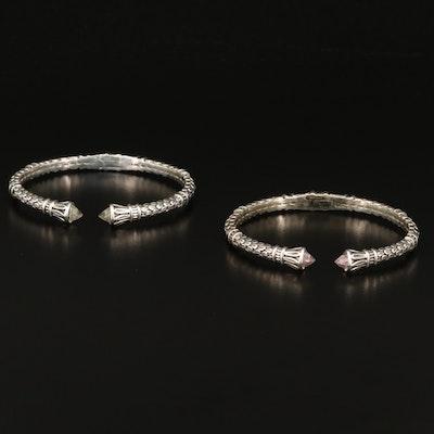 SeidenGang Sterling Silver Quartz Cuff Bracelets