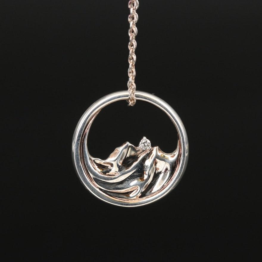 Sterling Diamond Mountain Horizon Pendant Necklace