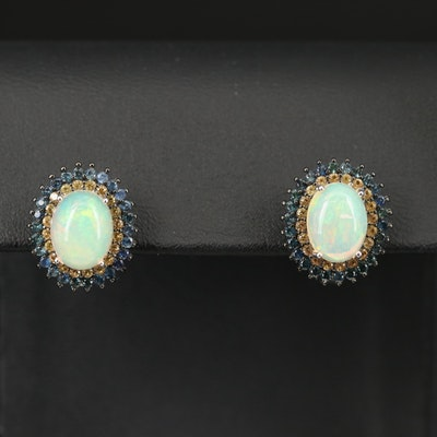 Sterling Silver Opal and Sapphire Double Halo Earrings