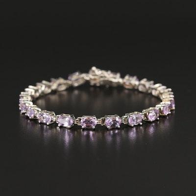 Sterling Silver Amethyst Line Bracelet