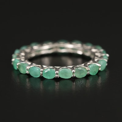 Sterling Emerald Eternity Band