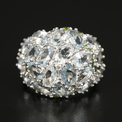 Sterling Aquamarine and Diopside Domed Cluster Ring