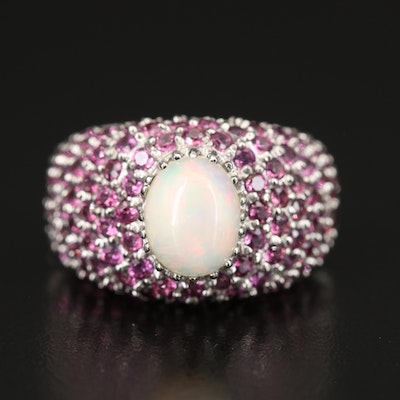 Sterling Opal and Rhodolite Ring