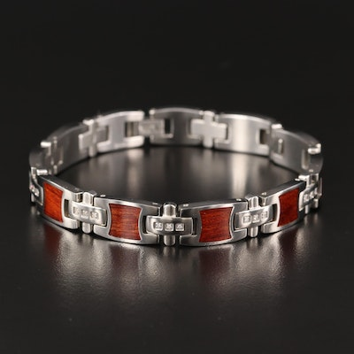 Stainless Steel Wood Inlay and Diamond Link Bracelet