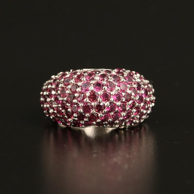Sterling Rhodolite Garnet Dome Ring with Diopside Accents