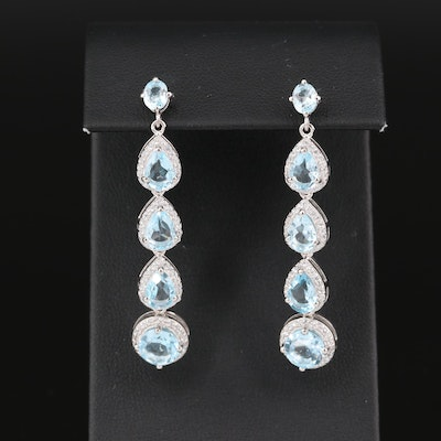 Sterling Silver Topaz and Cubic Zirconia Drop Earrings