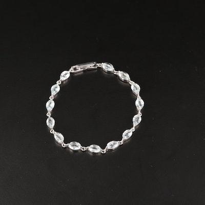 Sterling Silver Aquamarine Link Bracelet