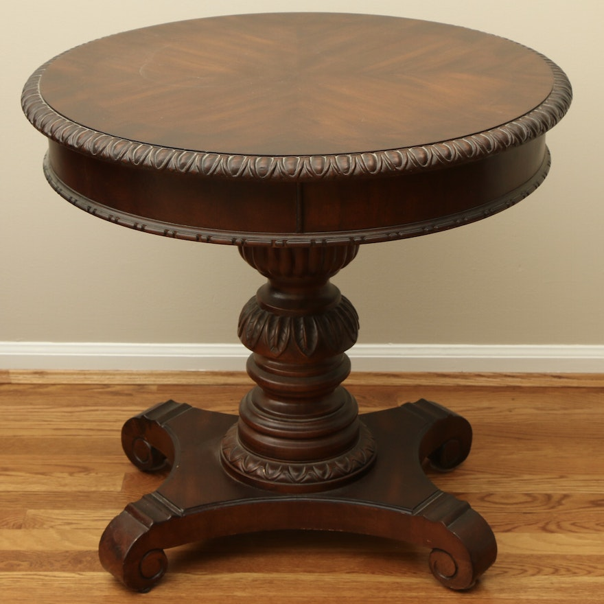 American Empire Style Mahogany-Stained Pedestal Side Table