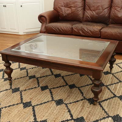 """Ethan Allen """"British Classics"""" Cane, Beveled Glass and Mahogany Coffee Table"""