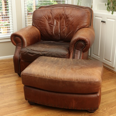 Robinson & Robinson Brass-Tacked Saddle Leather Lounge Chair and Ottoman