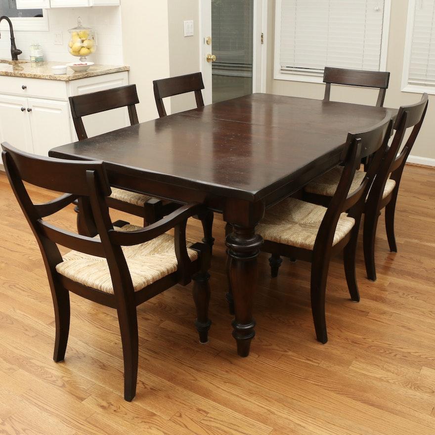 "Pottery Barn ""Montego"" Farmhouse Style Mahogany Table and Rush Seat Chairs"