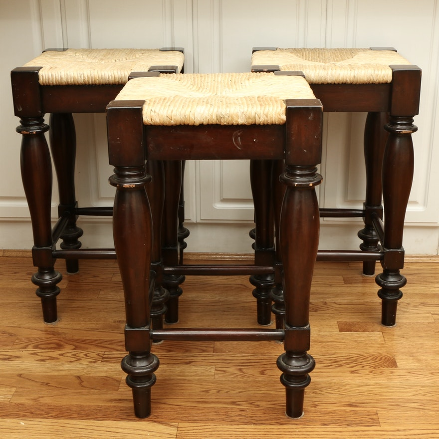 """Pottery Barn """"Montego"""" Farmhouse Style Rush Seat Espresso-Stained Counter Stools"""