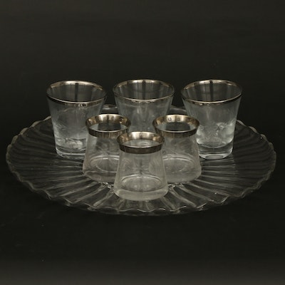 Ribbed Glass Torte Plate with Silver Rimmed Etched Glass Tumblers and Cups