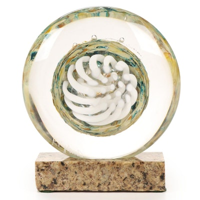 Andy Hudson Art Glass Paperweight on Marble Base,  2019