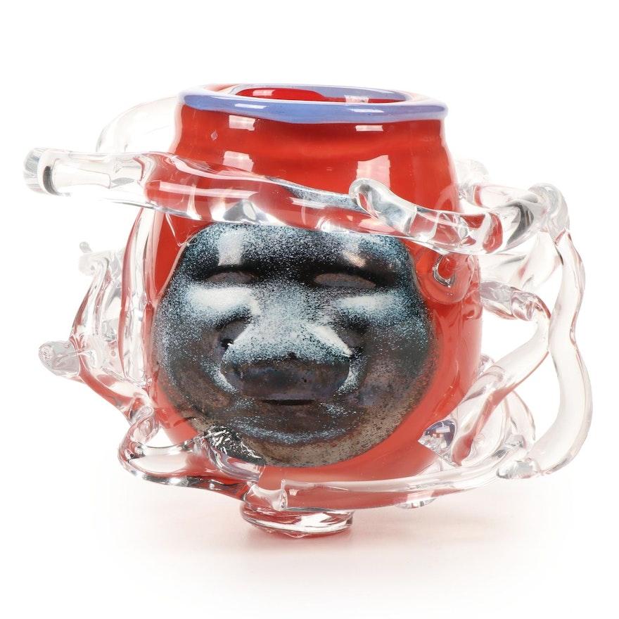 Andy Hudson Handblown Art Glass Face Vase, 2019