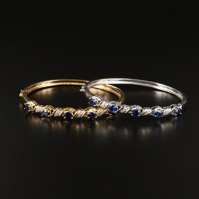 Sterling Hinged Bangles Including Sapphire and Diamond