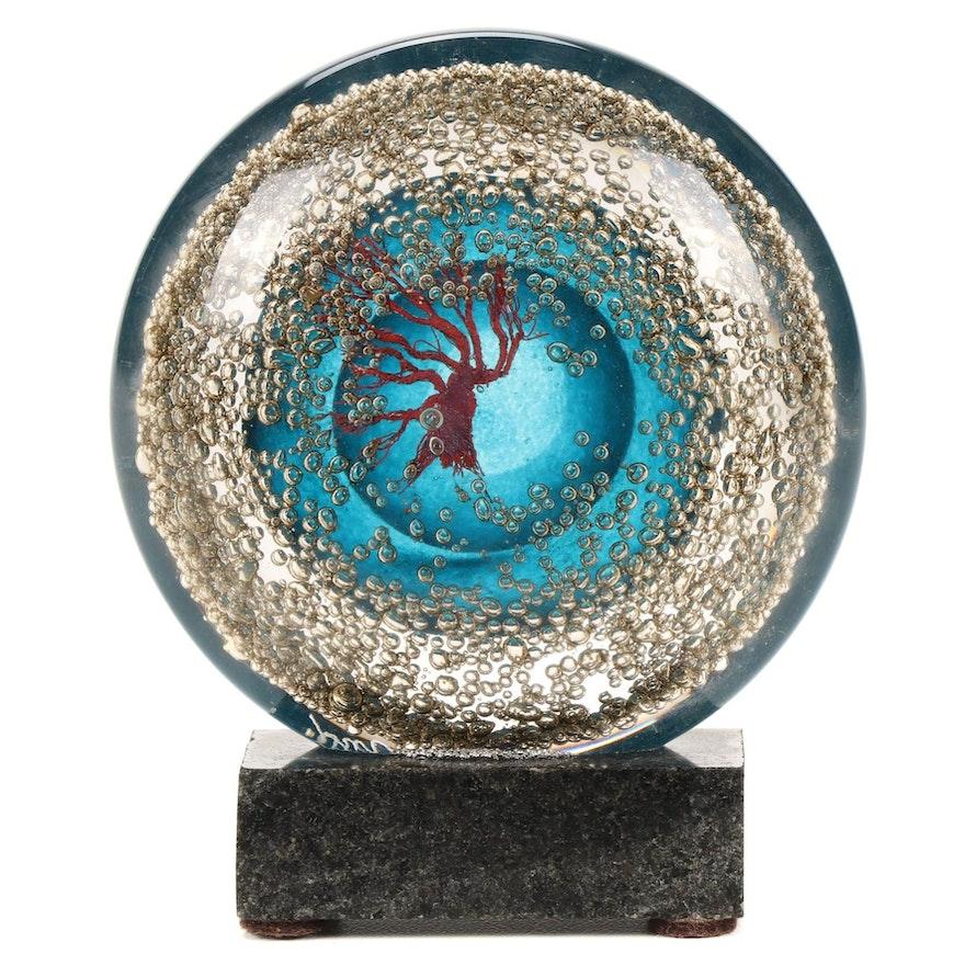 Andy Hudson Handblown Art Glass Tree Motif Paperweight with Granite Base