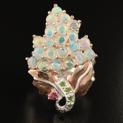 Sterling Grape Cluster Ring with Opal, Diopside and Garnet