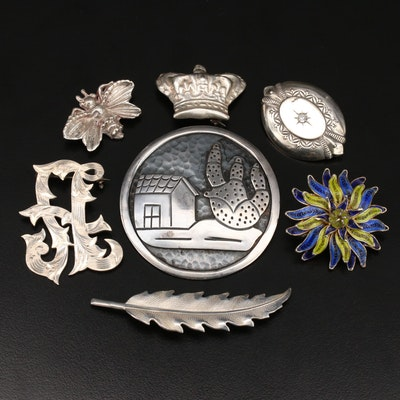 Sterling Brooches with Taxco Converter and 900 Silver Enamel and Filigree Brooch