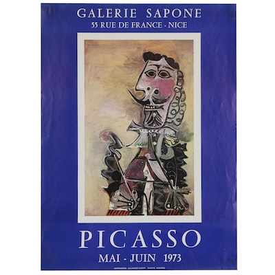 Galerie Sapone Offset Lithograph Poster for Picasso Exhibit, 1973