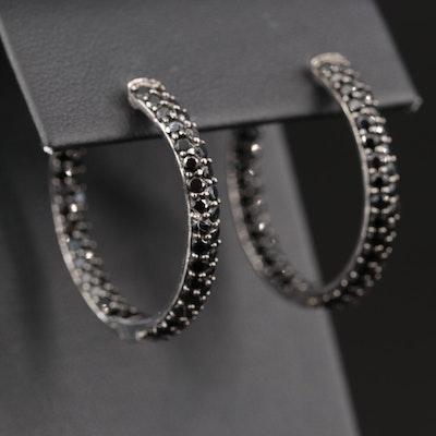 Sterling Silver Cubic Zirconia Inside-Out Hoop Earrings