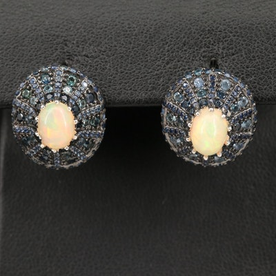 Sterling Silver Opal and Sapphire Earrings