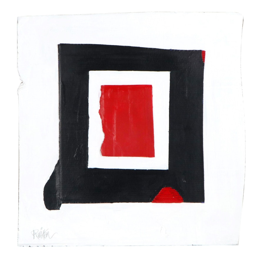 """Robbie Kemper Acrylic Painting """"Red Black White,"""" 2021"""