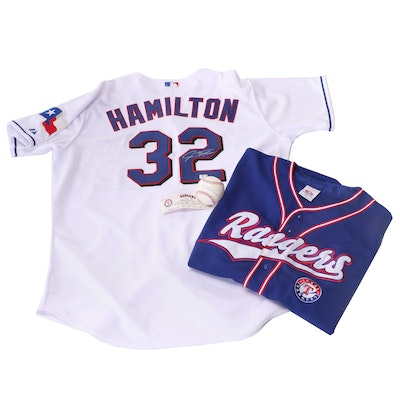 Josh Hamilton Signed Jersey, Practice Baseball and Unsigned Rangers Jersey