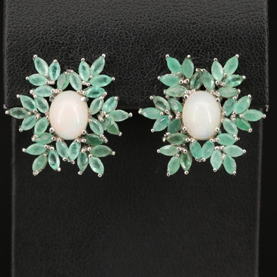 Sterling Silver Opal and Emerald Earrings