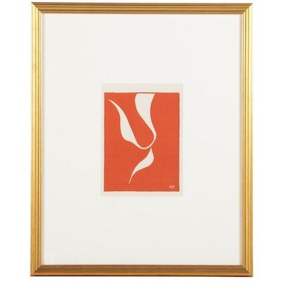 """Linoleum Cut After Henri Matisse """"Skater in Motion"""" for """"Verve,"""" 1939"""