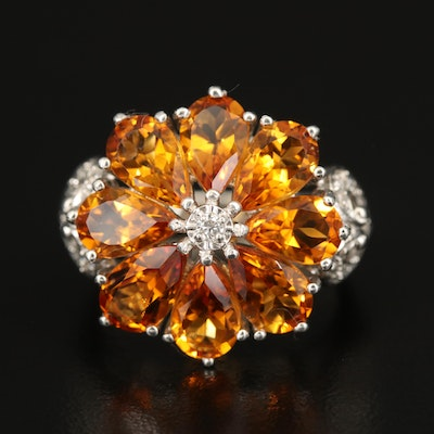 Sterling Silver Citrine and Diamond Flower Ring