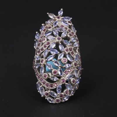 Sterling Tanzanite and Garnet Oval Floral Cluster Ring