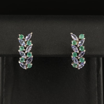Sterling Silver Tanzanite and Emerald Earrings